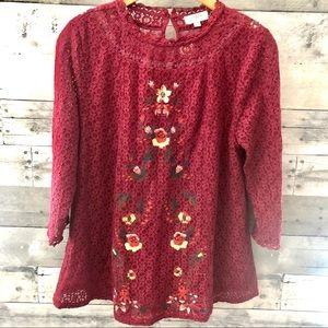 Umgee Embroidered Lace Boho Tunic Top Medium